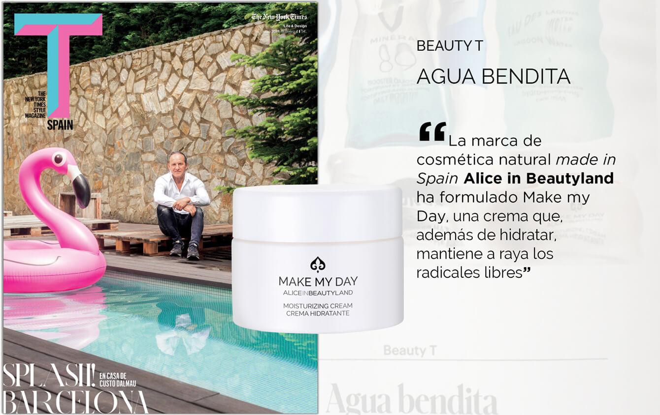 """T Spain: The New York Times Style Magazine """"La marca de cosmética natural made in spain Alice in Beautyland ha formulado Make my Day, una crema que además de hidratar mantiene a raya los radicales libres"""""""