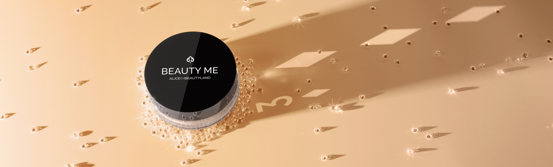 Beauty me makeup mineral foundation with a poker card shadow and diamonds